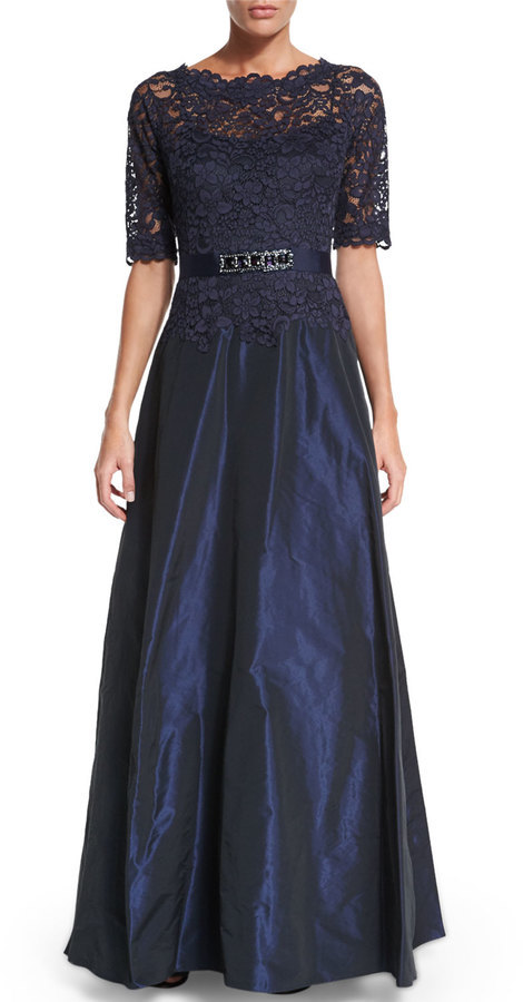 bea5aefc55476 ... Navy Lace Evening Dresses Rickie Freeman For Teri Jon Half Sleeve Lace  Bodice Taffeta Gown ...