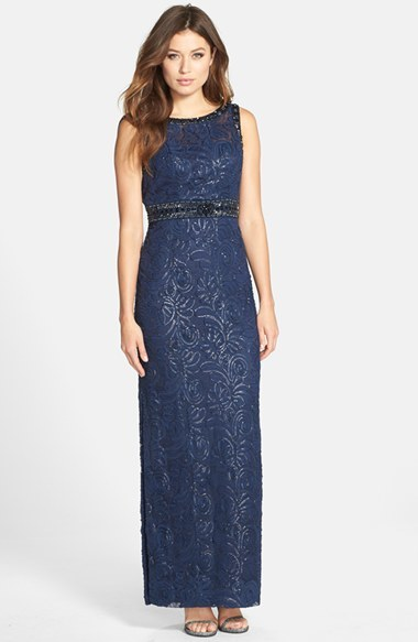 Navy Lace Evening Dresses Sue Wong Sequin Cowl Back Column Gown