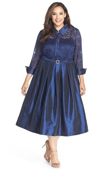 Eliza J Plus Size Lace Taffeta Point Collar Midi Dress, $188 ...