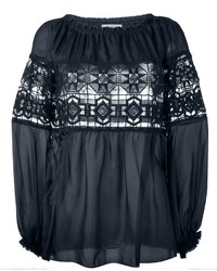 Dondup Embroidered Lace Panel Blouse