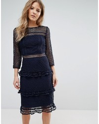 Liquorish Layered Lace 34 Sleeve Midi Dress