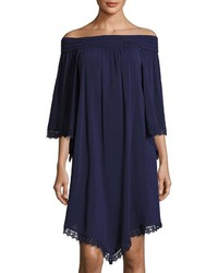 Neiman Marcus Smocked Off The Shoulder Dress Blue