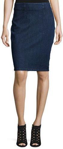 Denim Lace Back Pencil Skirt
