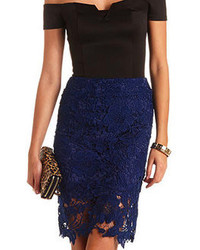 Charlotte Russe High Waisted Embroidered Lace Pencil Skirt
