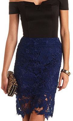Charlotte Russe High Waisted Embroidered Lace Pencil Skirt | Where ...