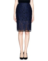 Nobrand Lace Overlay Gauze Pencil Skirt