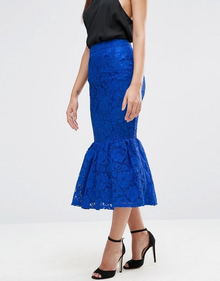 2a53fbbcb1 Asos Lace Pencil Skirt With Peplum Hem, $27   Asos   Lookastic.com