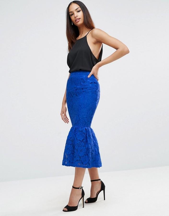 Asos Lace Pencil Skirt With Peplum Hem