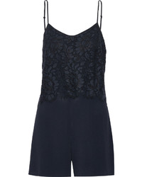 Payback embroidered lace and crepe playsuit medium 611729
