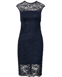 Navy Lace Sheath Dress