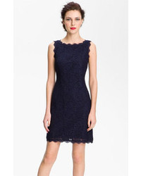 Adrianna Papell Boatneck Lace Sheath Dress Navy 12