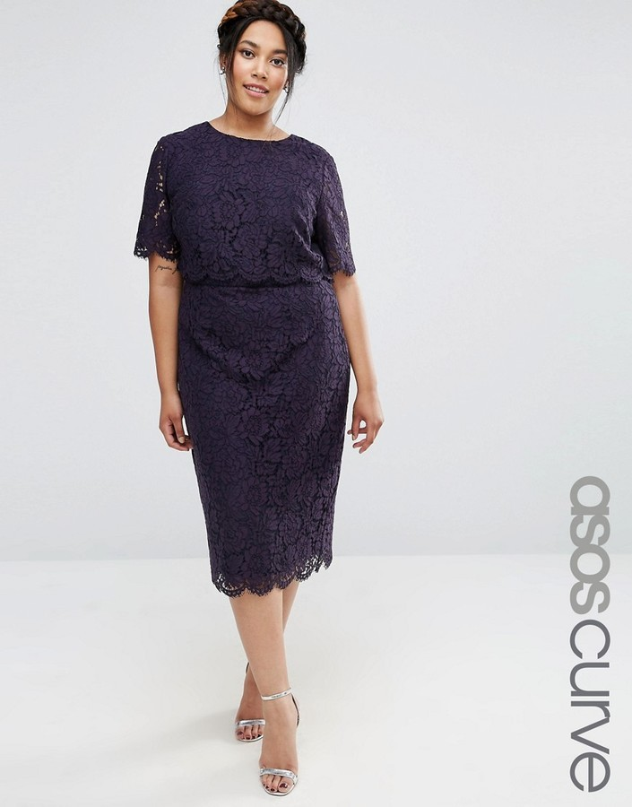 52cefe2c078 Asos Curve Curve Lace Crop Top Midi Pencil Dress, $78 | Asos ...