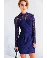 Keepsake Run The World Long Sleeve Lace Top Shift Dress