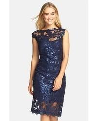 Tadashi Shoji Sequin Illusion Lace Dress