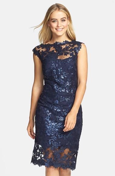 Tadashi Shoji Sequin Illusion Lace Dress | Where to buy & how to wear