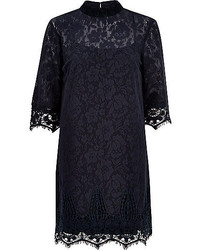 River Island Navy Lace High Neck Shift Dress