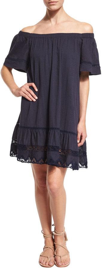 bbd118fbedf ... Rebecca Taylor Off The Shoulder Cotton Lace Trim Shift Dress Navy ...