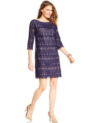 Jessica Howard Three Quarter Sleeve Crochet Lace Shift