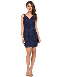 Aidan Mattox V Neck All Over Lace Cocktail Dress