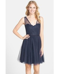 Bridesmaids tulle overlay lace fit flare dress medium 213959