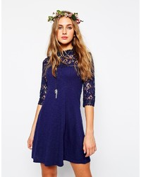 Asos Collection Skater Dress With High Neck And Mixed Lace Inserts