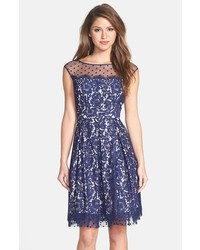 Illusion yoke lace fit flare dress medium 213538