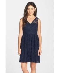 Marina Lace V Neck Fit Flare Dress