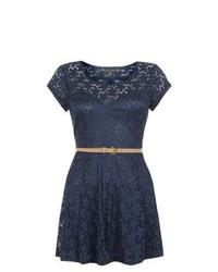 Mela New Look Navy Lace Belted Skater Dress