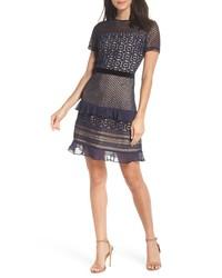 Chelsea28 Velve Belt Lace Sheath Dress