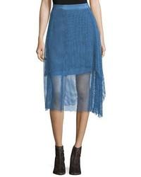 Diane von Furstenberg Draped Lace A Line Midi Skirt