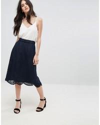 Vila Lace Trim Midi Skirt