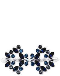 Givenchy Brooch Silver Tone Swarovski Montana Sapphire And Black Diamond Crystal Pin