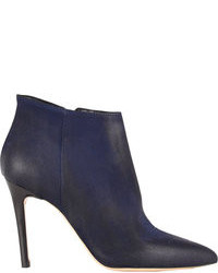 Navy Leather Ankle Boots