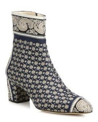 Altuzarra Callie Paisley Block Heel Ankle Booties