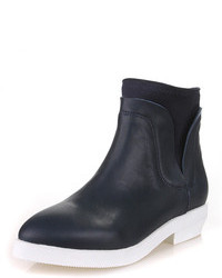 Choies Navy Leather Ankle Boots With Color Block Sole