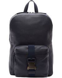 Navy grained leather safety buckle backpack medium 142958