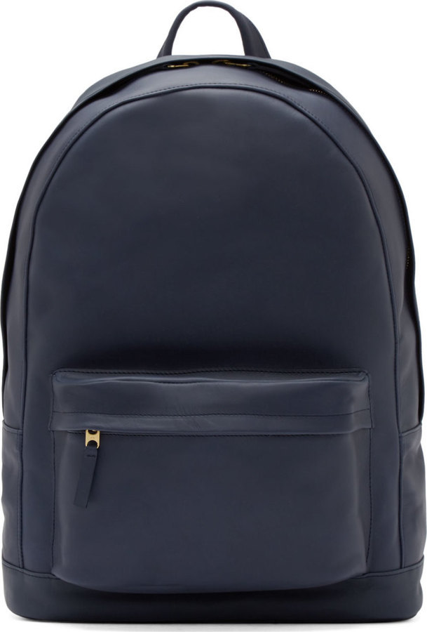 Pb 0110 Navy Blue Leather Large Backpack   Where to buy & how to wear