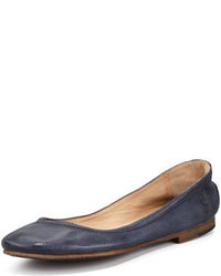 Navy Leather Ballerina Shoes