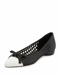 Shana woven cap toe ballerina flat blackchalk medium 4106278