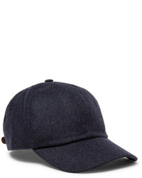 Brunello Cucinelli Leather Trimmed Mlange Wool Baseball Cap
