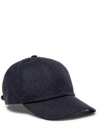 Brunello Cucinelli Leather Trimmed Mlange Wool Baseball Cap