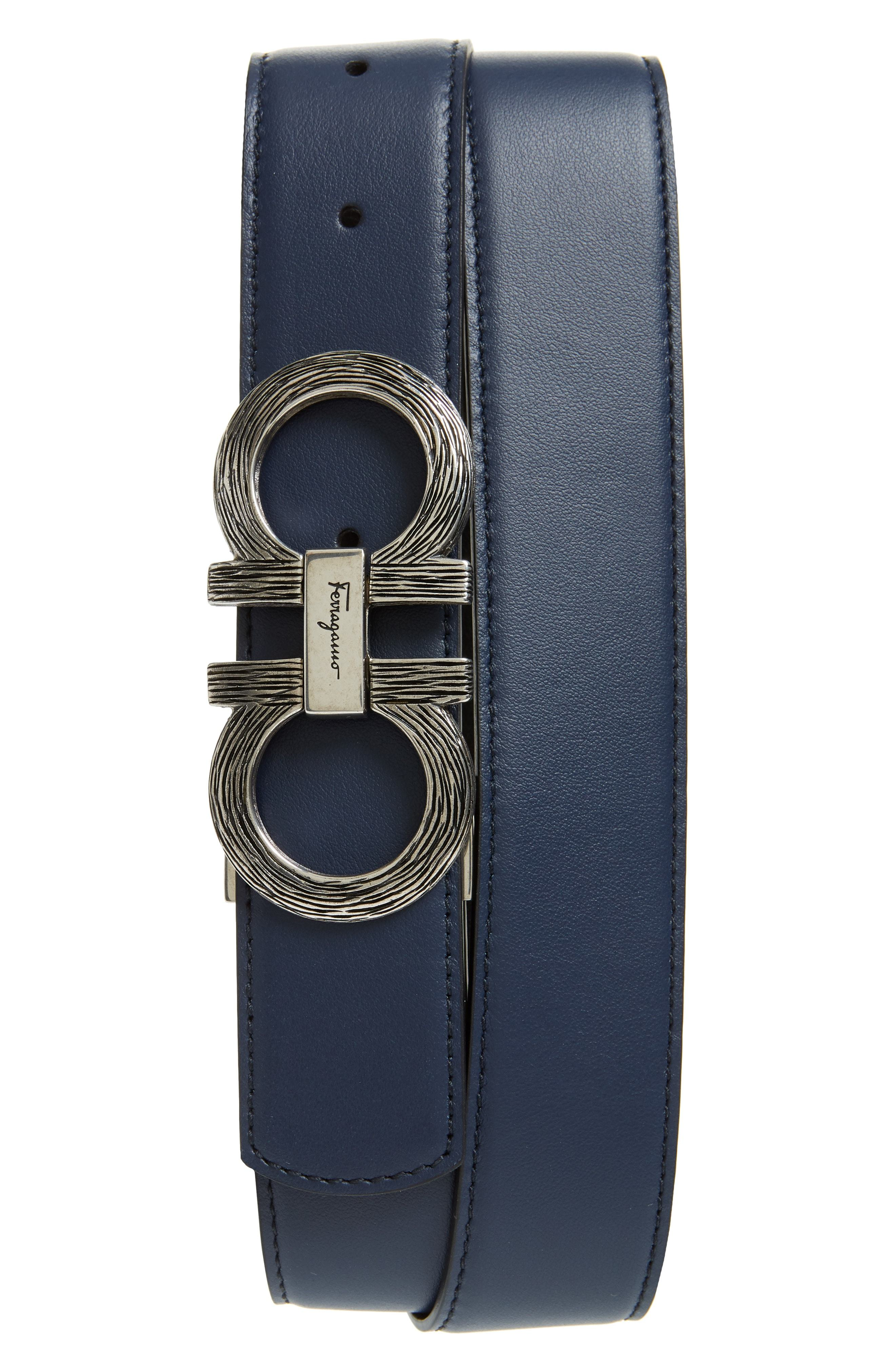 4f9c339b80 Salvatore Ferragamo Etched Double Gancio Reversible Leather Belt ...