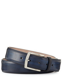 Magnanni For Neiman Marcus Square Buckle Calf Leather Belt