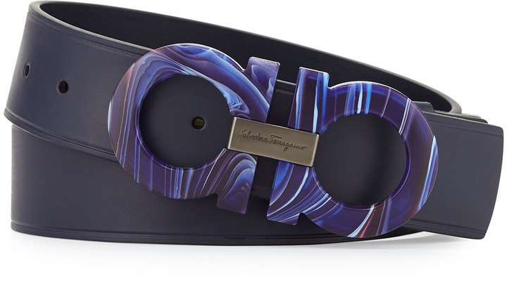 $440, Salvatore Ferragamo Mini Big Double Gancini Leather Belt Blue Marine