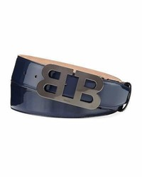 Bally Mirror B Patent Leather Belt Blue