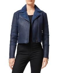 J Brand Aiah Lambskin Leather Moto Jacket With Genuine