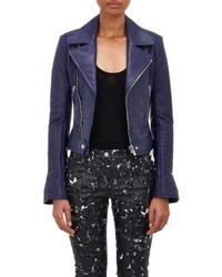 Balenciaga Leather Moto Jacket Blue