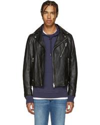 Black leather l beck biker jacket medium 590260