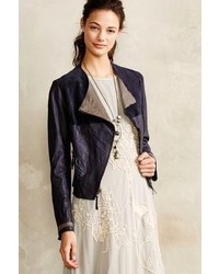 Anthropologie Colorblock Leather Moto Jacket