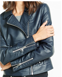Express Leather Navy Moto Jacket